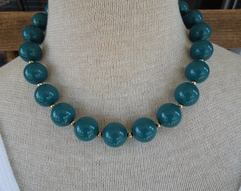Vintage Bead Necklace, Long Dark Green/Blue Bead Necklace.  19 + 3 Inches.  Nice Condition