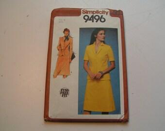 Vintage Simplicity 9496 fuss free fit Miss Unlined Suit