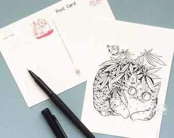 Bird on Leaf Postcard Cannabis Cat