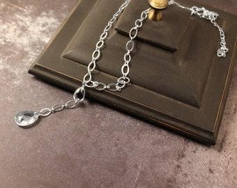 """Silver-Tone Crystal Drop """"Y"""" Shaped Necklace"""