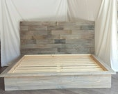 """The Steph grey driftwood finished platform bed with horizontal 50"""" headboard"""