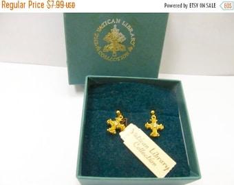 ON SALE VATICAN Libary Collection Ornate Cross Earrings Item K # 1677