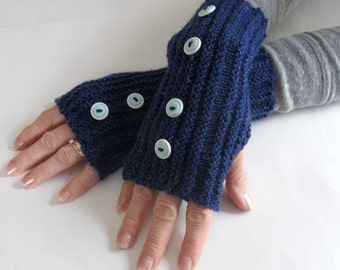 Crocheted Fingerless Gloves Navy Blue with Sparkles and Buttons