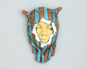 "Face, ceramic wall art, Jacquline Hurlbert, one of a kind, unique, title: ""Silent Watch"""