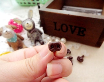 8mm Plastic Nose Stuffed Animals Noses Amigurumi Safety Noses Dog Nose - brown - 10 pcs