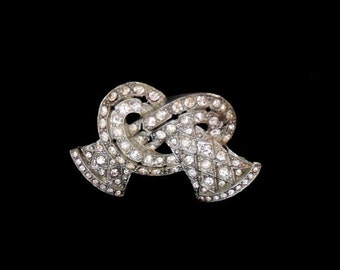 Biggest Sale Ever Little Nemo Brooch Twisted Silver With Clear Rhinestones