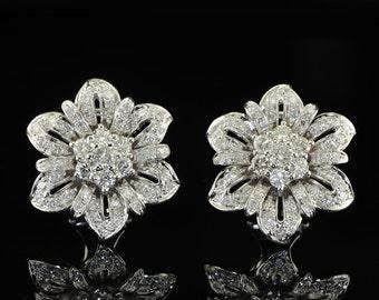 Superb 2.35 Ct diamond vintage flower ear clips