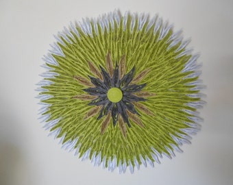 Huge flower wall hanging Round wall decoration Chartreuse home decor  Living room Bedroom Bathroom