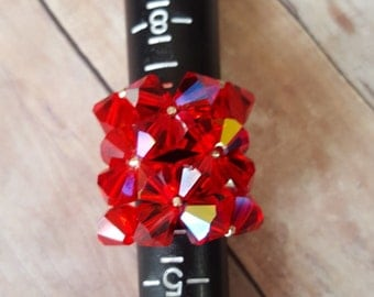 Large Sparkly Red Swarovki Crystal bling ring. clearance. Inventory reduction  sale