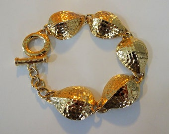 Hammered Chunky Bracelet Gold 8 Inch long