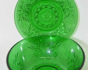 Green Oatmeal Glass Bowl and Saucer