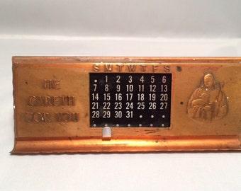 "Vintage Copper Perpetual Calendar, ""He Careth For You"" Desk Calendar"