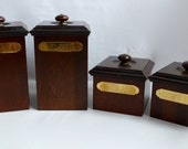 Vintage MaLeck Woodcrafts Wood Canister Set with Brass Name Plates and Accents Rare Square circa Late 60's Early 70's