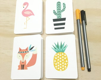 Mini Gift Card Pack + Envelopes - Assorted - Pineapple, Cactus, Flamingo, Fox - Set of 4 (1 of each design) Rounded White Small Cards - GC07