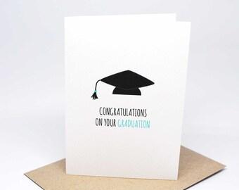 Graduation Card - Graduation Cap - GRD010 / Congratulations on your Graduation Greeting Card