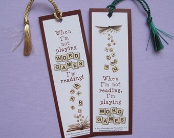 Word Games Scrabble Bookmark with Tassel - Set of 3