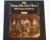 "Crosby Stills, Nash & Young - Deja Vu w/ Paste-On Photo - ""Woodstock"" - ""Our House"" - Original Atlantic 1970  Vintage Gatefold Vinyl Record"