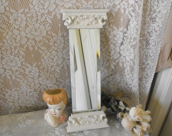 Vintage Wall Mirror, tall thin wall mirror, upcycled, antique White, Ornate, hand Painted - Beveled Glass - French Country - Shabby Chic