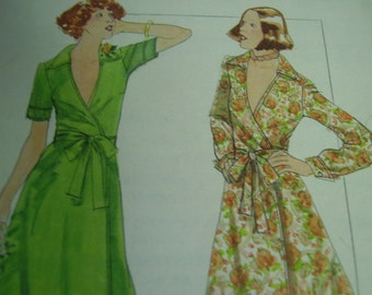 Vintage 1970's Butterick 4747 Wrapped Dress Sewing Pattern, Size 10, Bust 32 1/2