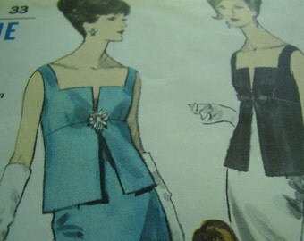 Vintage 1960's Vogue 6200 Special Design Two Piece Evening Dress Sewing Pattern, Size 10 Bust 31 or Size 12 Bust 32