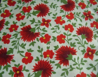Vintage 1950's Red, Yellow, Green Flowers Cotton Fabric, 2 yards