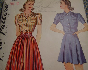 Vintage 1940's Simplicity 3607 Blouse, Shorts, and Skirt Sewing Pattern Size 16, Bust 34