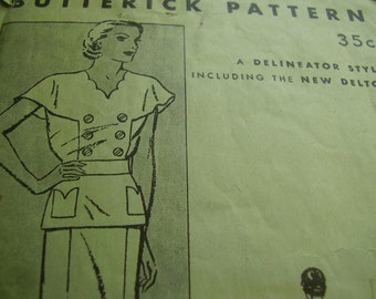 Vintage 1940's Butterick 5015 Two Piece Dress Sewing Pattern, Size 18, Bust 36
