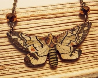 Brown Wooden Moth Statement Necklace