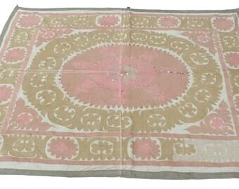 Suzani Vintage Suzani Old Embroidery Suzani Wall Hanging Uzbek Suzani Table Cover Ethnic Suzani 4.07' x 5.25' FAST with ups - 08800