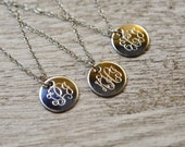 "very small 1/2"" engraved charm necklace, finest quality stainless steel, sterling or 14kt gold necklace 