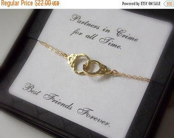 ON SALE Gold filled handcuff bracelet. Best friends, sisters forever, police academy graduation.