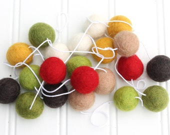 Rustic Felt Ball Garland, Pom Pom Garland, Red Brown & Yellow, Mantle Garland, Nursery Decor, Felt Ball Bunting, Autumn Garland, Fall Decor