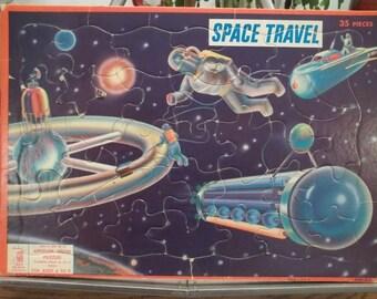Vintage 1959 Milton BradleySpace Travel Puzzle