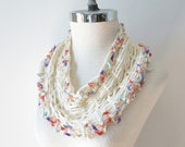 SALE Infinity T-Shirt scarf, Ivory Contemporary Lace Infinity scarf, scarf, hand painted merino wool in Ivory white with pastels