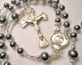 Catholic Wedding Rosary/Grooms Rosary-Traditional 5 Decade Catholic Rosary- Sterling & Swarovski Pearls