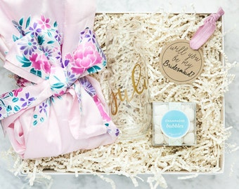Personalized Bridesmaid Gift Set, Be My Bridesmaid Gift Box, Jewelry, Proposal Gift, Wedding Gifts, Floral Robes, Bridal Party Gift Boxes