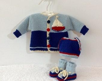 Blue Cotton Silk Baby Boy Sailboat Cardigan, Hat and Bootie Set, 0-3m