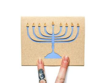 Hanukkah Card: Laser Cut Menorah--Happy Hanukkah--Light Blue and Gold