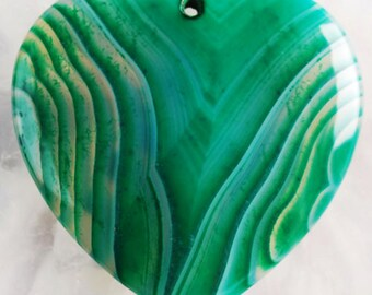 Envy large Green stripped agate Heart pendant