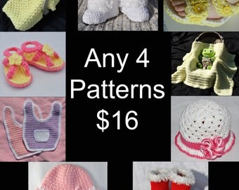 Crochet Pattern - Any 4 Patterns