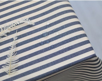 8 mm Navy Stripe Laminated Cotton Fabric - By the Yard 93010