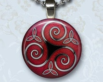 Red Celtic Triskel Photo Charm Pendant, Symbol Knot Glass Dome Jewelry, Silver Chain Necklace