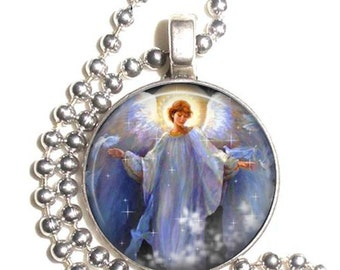 Angel of Light and Protection, Guardian Angel & Pigeons, Art Photo Pendant, Earrings and/or Keychain Round, Silver and Resin Charm Jewelry
