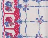"59"" x 40"" Reto Kitchen Vintage Tablecloth Red White Blue Fruit & Berries Design 1950's Wilendur Style"
