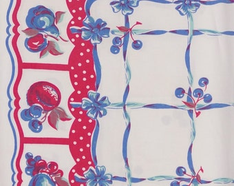 "59"" x 40"" Reto Kitchen Vintage Tablecloth Red White Blue Fruit & Berries Design 1950's Wilendur Style"