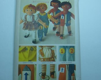 Vintage Simplicity 9137 Set of Learning Rag Dolls Factory Fold