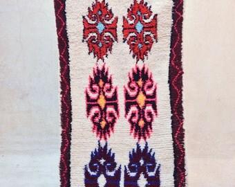 "THE GARDNER 8'1"" x 2'10"" Boucherouite Rug. Tapis Moroccan Berber. Mid Century Modern Danish Design Compliment. ZA16-135"