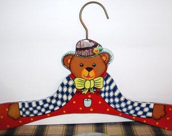 Hand Painted Teddy Bear Hanger - Vintage - Nursery Decor - Children's Room - Home Decor - Art - Baby Room