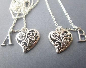 2 Heart, Initial -Best friends Necklaces