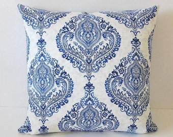 Moroccan Pillow Covers-Boho Pillow Covers-Waverly Pillow Covers-Indian Pillow Covers-Damask Pillow Covers-Blue White Pillow Covers